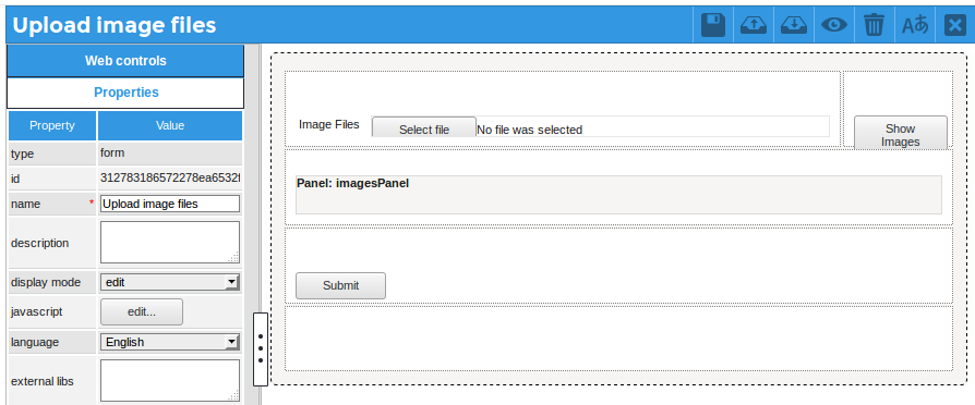 Display image files uploaded in a Multiple File control